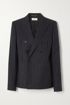 Saint Laurent Double-breasted Metallic Pinstriped Wool-blend Twill Blazer - Black