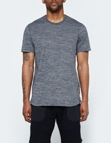 Reigning Champ SS Scalloped Crewneck - Tiger Jersey in Black