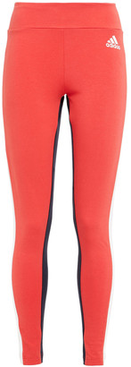 adidas Color-block Stretch-cotton Jersey Leggings