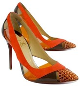 Christian Louboutin Orange & Taupe Cut Out Pumps