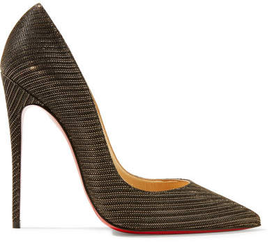 Christian Louboutin So Kate 120 Metallic Canvas Pumps - Black