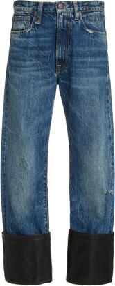 R 13 Axl Leather-Cuff High-Rise Straight-Leg Jeans