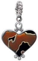 Delight Beads Two Tone Enamel Cheetah Print Heart Rope Charm Bead