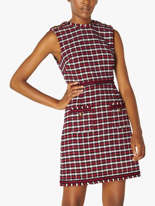 LK Bennett Therese Check Tweed Sleeveless Mini Dress, Red/Multi