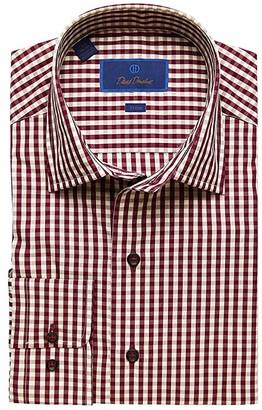 David Donahue Trim Fit Long Sleeve Melange Fusion Dress Shirt (Merlot) Men's Dress