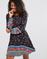 Brave Soul Border Print Skater Dress