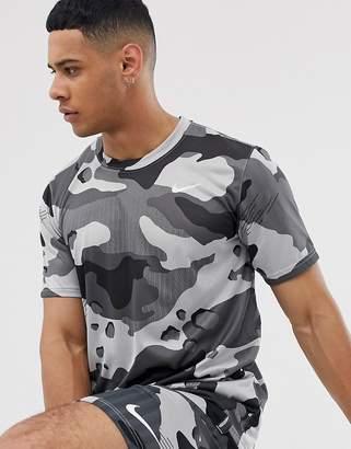 Nike Training camo t-shirt in grey