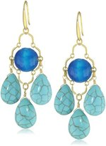 David Aubrey LAUREN Blue Lace Agate And Three Turquoise Teardrops Earrings