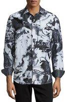 Robert Graham Limited Edition Tie-Dye Silk Sport Shirt, White