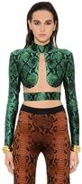 Balmain Embossed Python Printed & Tulle Crop Top