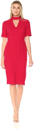 London Times Women's Short Sleeve V Neck Midi Crepe Sheath Dress w. Mock Collar