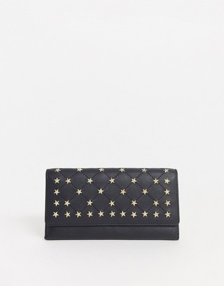 Paul Costelloe real leather star studded black quilted purse