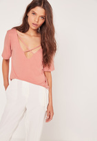 Missguided V Neck Cross Strap Front T Shirt Pink