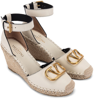 Valentino Vlogo Espadrille Wedges in Light Ivory & Natural | FWRD