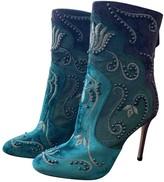 Aquazzura Turquoise Velvet Ankle boots