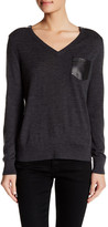The Kooples Genuine Leather Trimmed Merino Wool Sweater