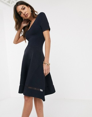 French Connection voletta crepe knitted sleeve dress-Blue