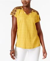 Style&Co. Style & Co Petite Cotton Embroidered Top, Only at Macy's