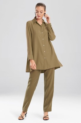 Natori Sanded Twill Long Sleeve Tunic