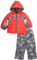 London Fog Red Geometric Puffer Coat & Snow Pants - Infant & Boys