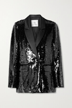 Anine Bing - Ace Sequined Satin Blazer - Black