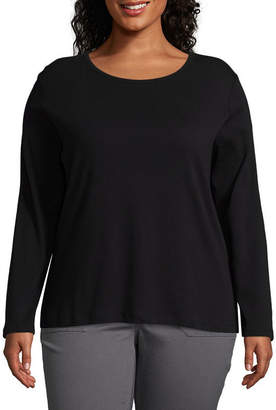ST. JOHN'S BAY Plus-Womens Crew Neck Long Sleeve T-Shirt