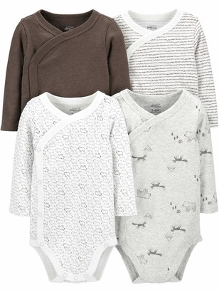 Simple Joys by Carter's Baby 4-Pack Long Sleeve Side Snap Bodysuit Shirt
