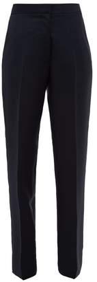 Jil Sander Tailored Wool Blend Trousers - Womens - Dark Navy