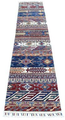 "Blue Area One-of-a-Kind Runner Oriental Hand-Knotted 2' x 9'3"" Wool Rug Isabelline"