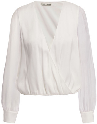 Alice + Olivia Hart Wrap-effect Chiffon-trimmed Stretch Silk-charmeuse Blouse