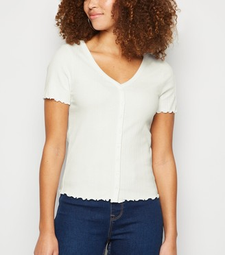 New Look Ribbed Button Front T-Shirt