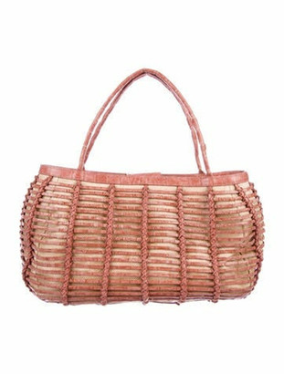 Nancy Gonzalez Crocodile-Trimmed Straw Bag Natural