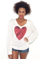 Wildfox Couture Sequin White Label Heart Sweater in Cream