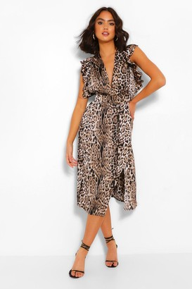 boohoo Animal Print Ruffle Sleeve Midi Dress
