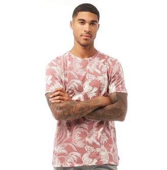 Ted Baker Mens Kiddin Short Sleeve Large Floral Print T-Shirt Pink