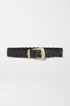 Kate Cate Woven Leather Belt - Black