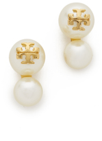 Tory Burch Swarovski Crystal Imitation Pearl Double Stud Earrings