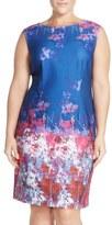 Adrianna Papell Border Print Scuba Knit Sheath Dress (Plus Size)