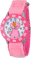 Sesame Street Girls Pink And White Elmo Flower Time Teacher Strap Watch W003183