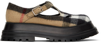 Burberry Beige Check T-Bar Loafers