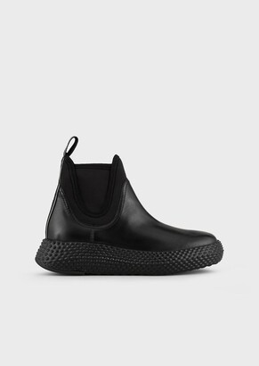 Emporio Armani Leather Ankle Boots With Elastic Inserts
