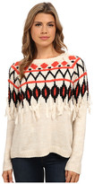 Kensie Tissue Knit Fringe Sweater KS9K5051