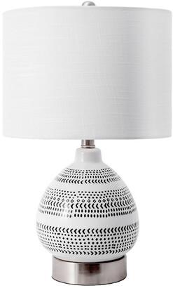 nuLoom 22In Aly Mottled Ceramic Egg Linen Shade Table Lamp