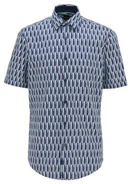 HUGO BOSS Regular Fit Shirt In Printed Cotton And Linen - Dark Blue