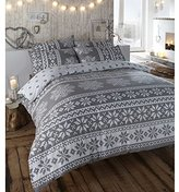 Rapport Alpine Polycotton Reversible Quilt Duvet Cover and 2 Pillowcase Bedding Bed Set, Grey, Double