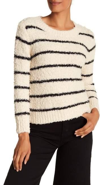 Vince Fuzzy Striped Crew Neck Sweater
