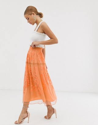 ASOS DESIGN occasion midi skirt with floral embroidery