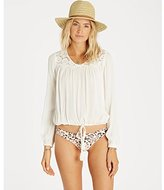 Billabong Junior's Sunny Eyes Crochet Peasant Blouse