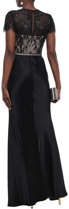 Catherine Deane Lace-paneled Cotton-blend Satin Gown