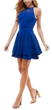 Emerald Sundae Juniors' Lace Tiered A-Line Dress